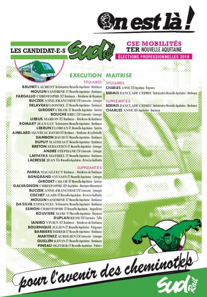 Listes des candidat(es) SUD Rail pour le CSE TER Nouvelle Aquitaine