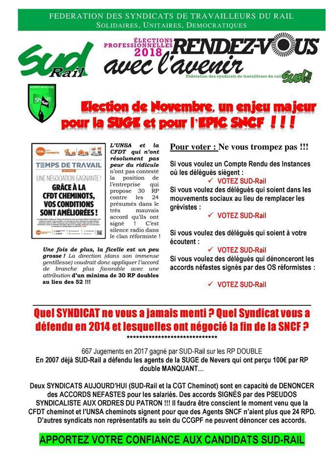 Élection de Novembre, un enjeu majeur pour la SUGE et pour l'EPIC SNCF