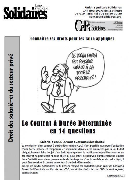 Le contrat à durée déterminée en 14 questions ( CDD )