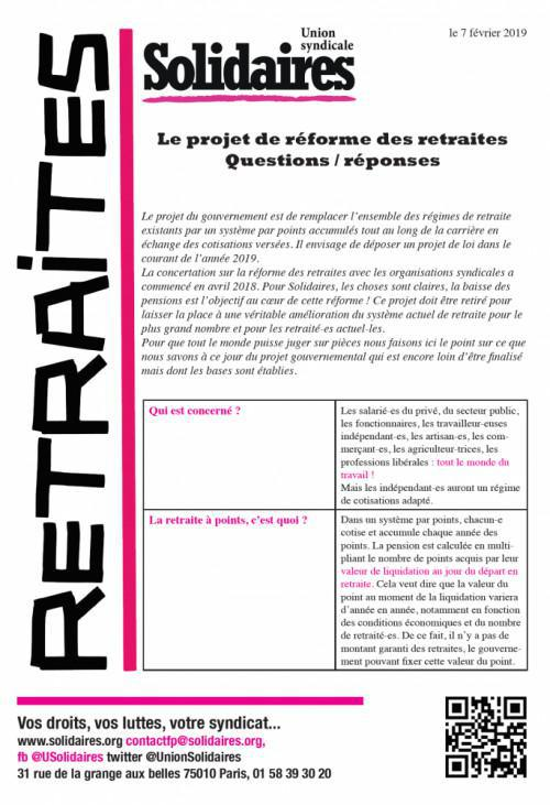Le projet de réforme des retraites : Questions / réponses