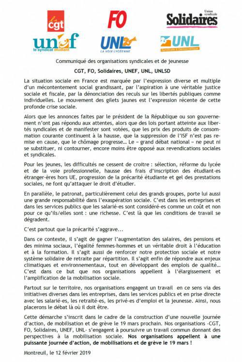 Appel intersyndical à une journée d'action, de mobilisations et de grève le 19 mars