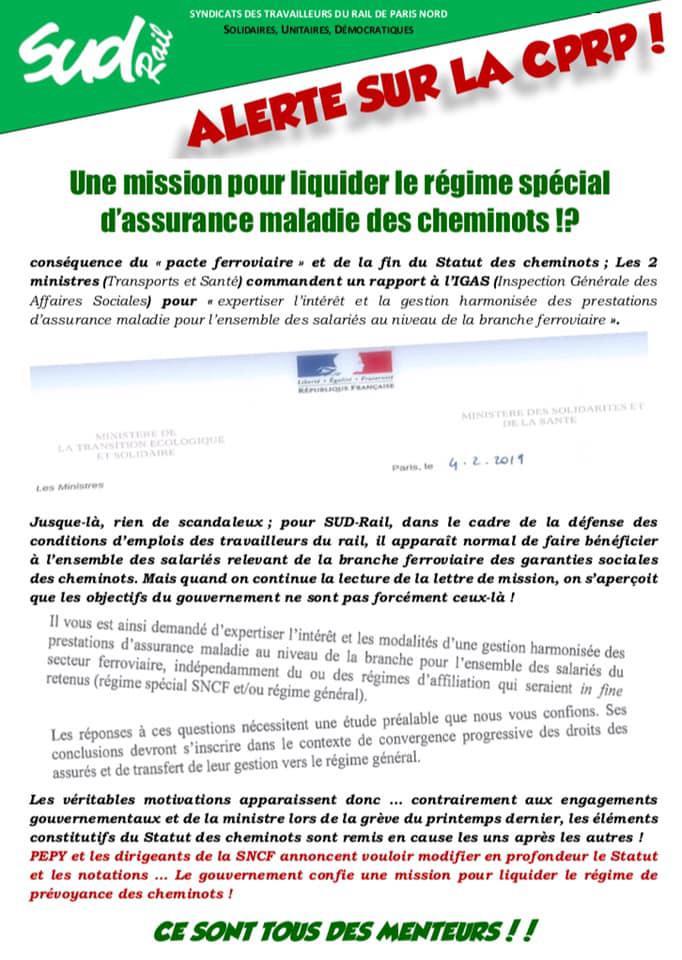 Alerte sur la CPRP ! Une mission pour liquider le régime spécial d'assurance maladie des cheminot(es) !?