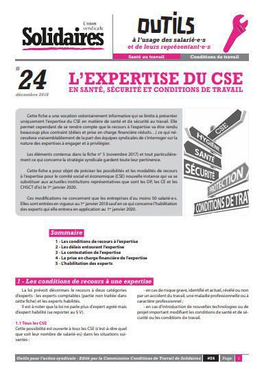 L'expertise du CSE en santé, sécurité et conditions de travail.