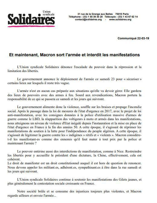 Et maintenant, Macron sort l'armée et interdit les manifestations