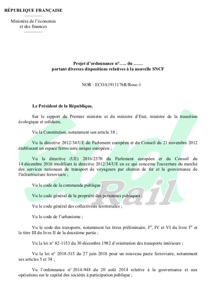 Projet d'ordonnance « confidentiel » portant diverses dispositions relatives à la nouvelle SNCF