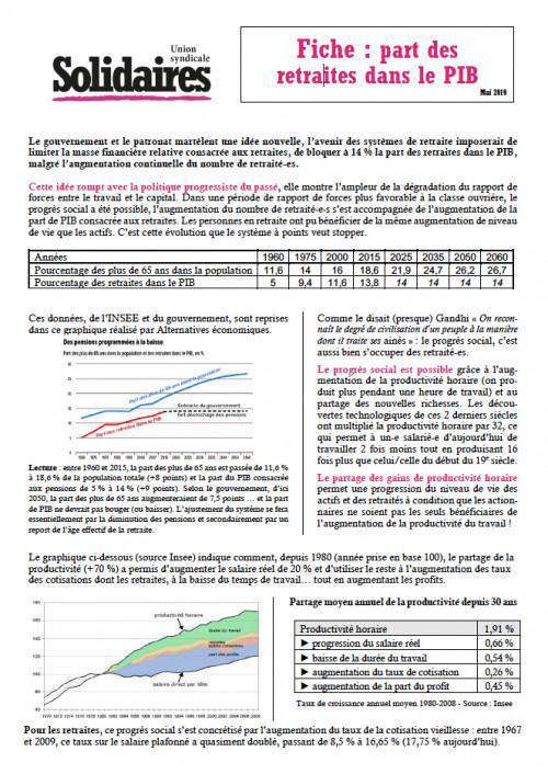 La part des retraites dans le PIB