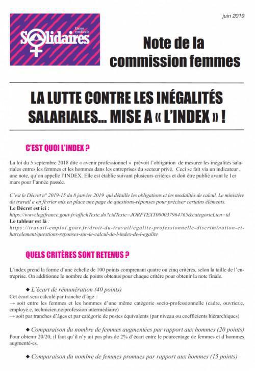 La lutte contre les inégalités salariales... MISE A « L'INDEX » !