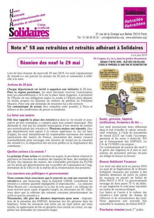 Note n° 58 aux retraitées et retraités adhérant à Solidaires