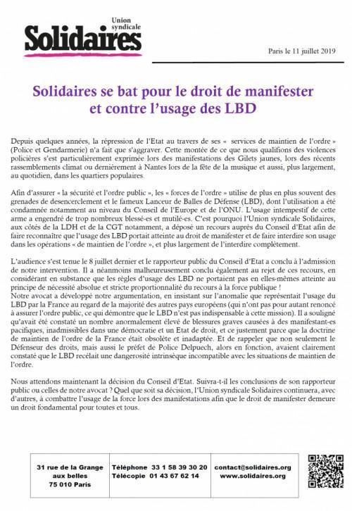 Solidaires se bat pour le droit de manifester et contre l'usage des LBD