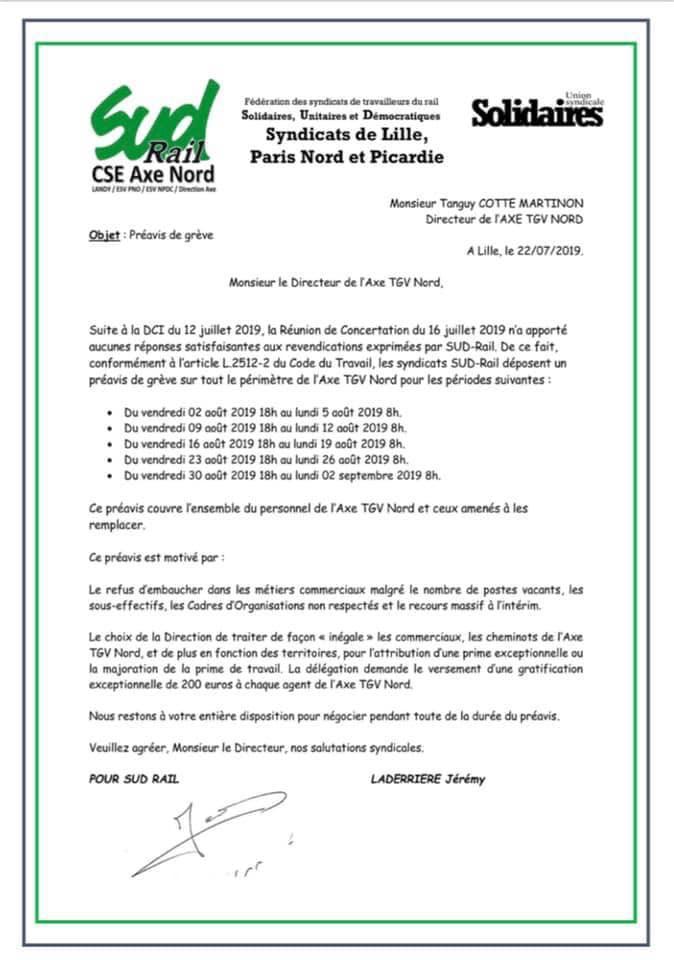 Préavis de grève CSE Axe Nord, échec des négociations !