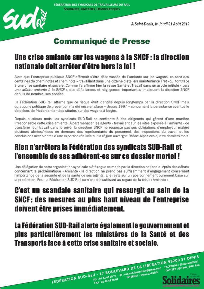 Une crise amiante sur les wagons à la SNCF : la direction nationale doit arrêter d'être hors la loi !
