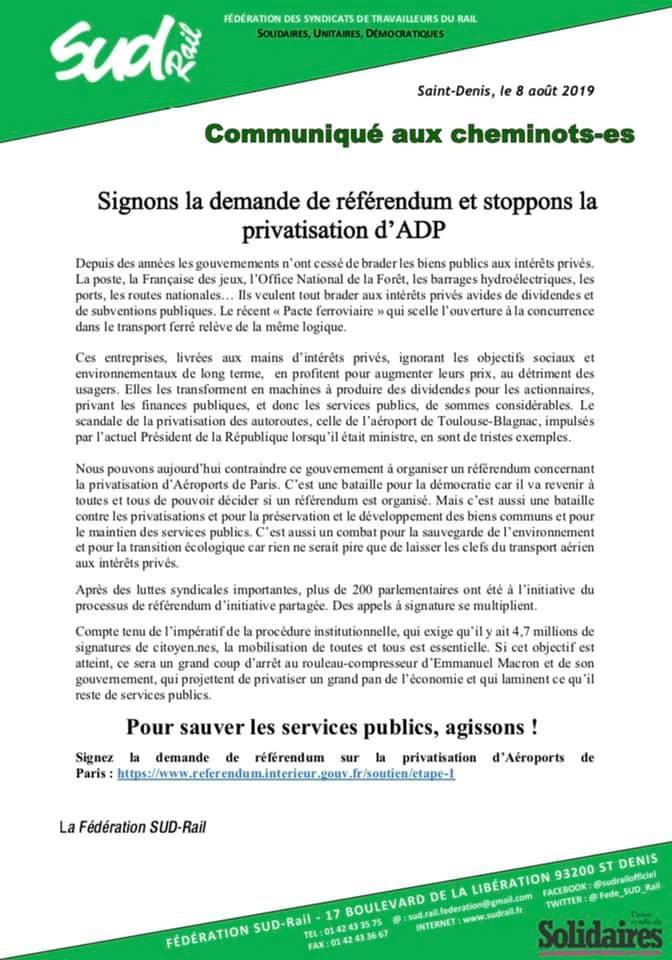 Signons la demande de référendum et stoppons la privatisation d'ADP