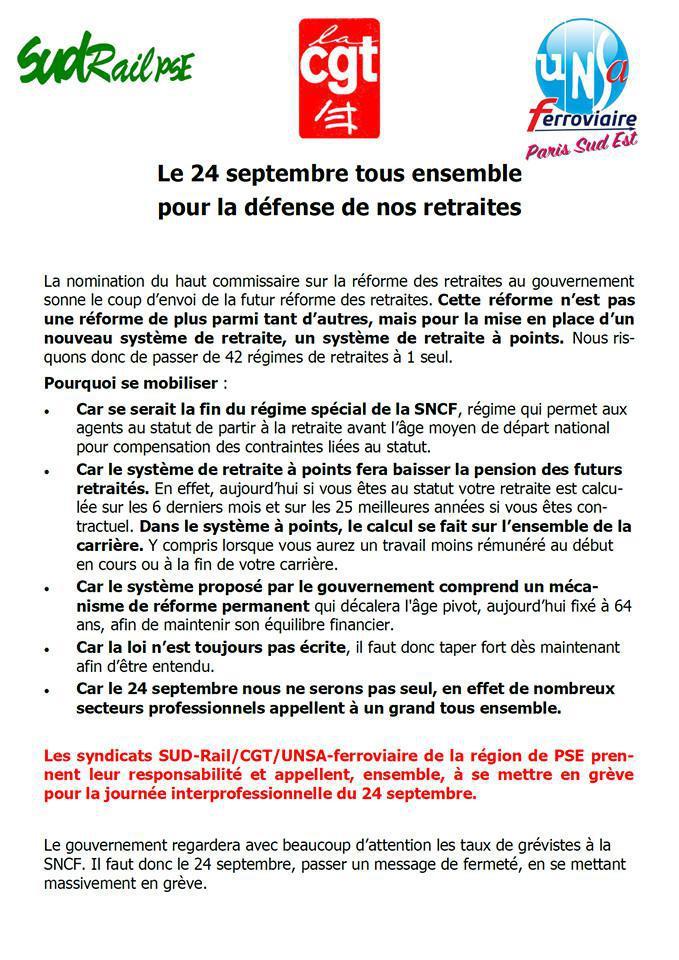Le 24 Septembre tous ensemble pour la défense de nos retraites