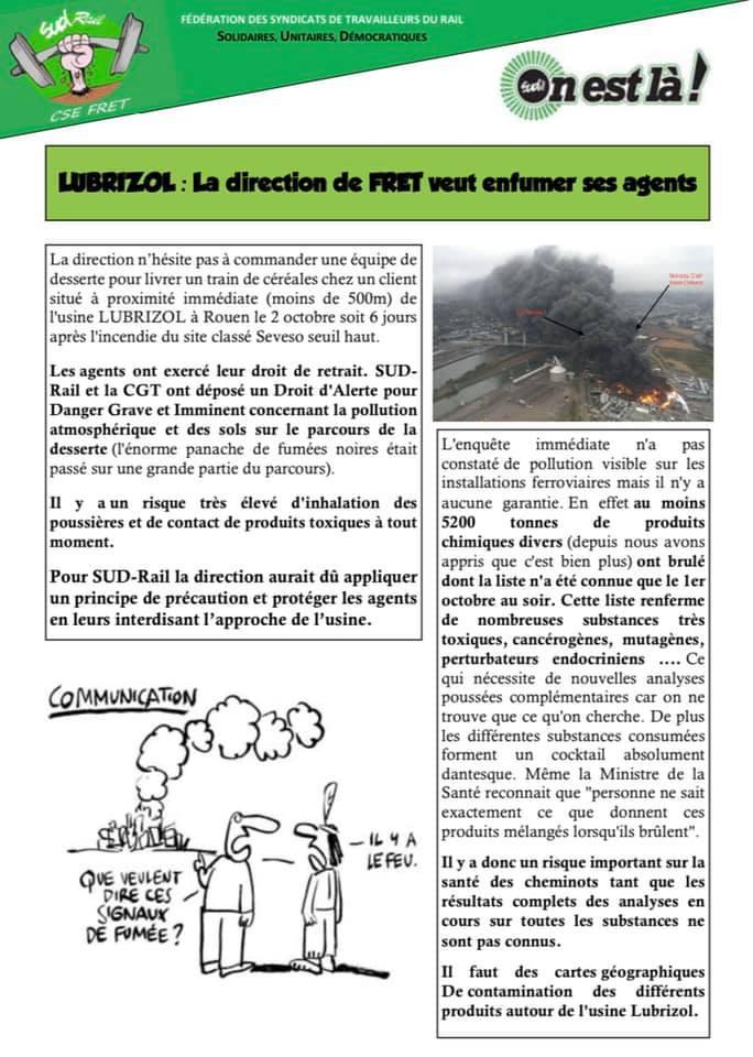 LUBRIZOL : La direction du FRET veut enfumer ses agents !