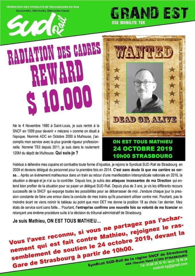 Rassemblement le 24 Octobre à Strasbourg pour Mathieu