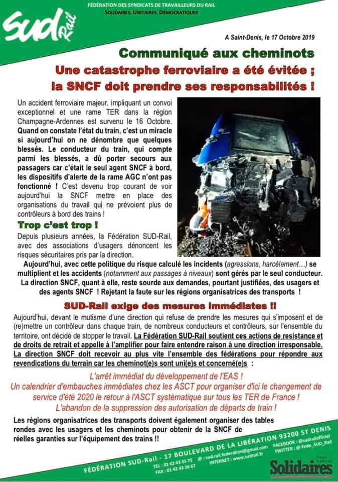 Une catastrophe ferroviaire a été évitée; la SNCF doit prendre ses responsabilités !