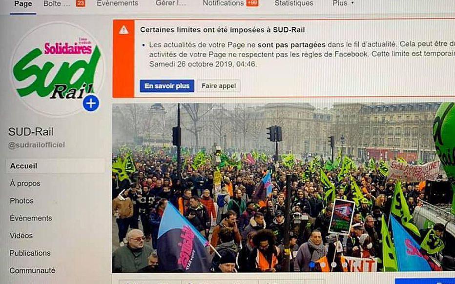 Facebook restreint les comptes des syndicats SUD Rail et CGT cheminots