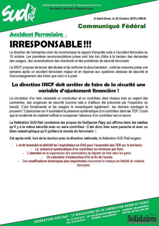 Accident ferroviaire : IRRESPONSABLE !!