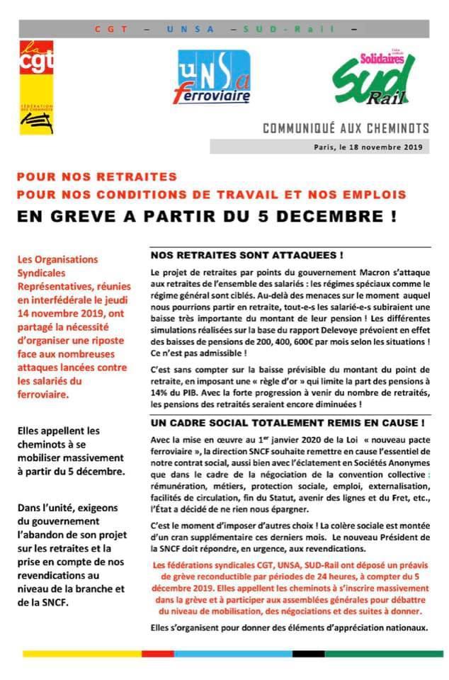 Communiqué Interfédérale SUD Rail - CGT - UNSA : En grève à partir du 5 décembre !