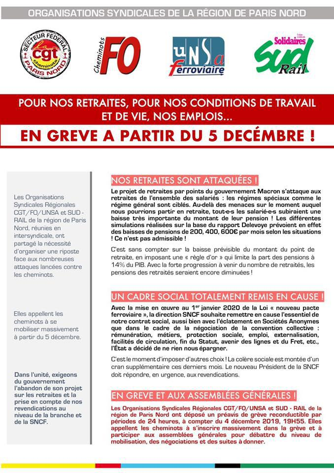 En grève à partir du 5 Décembre !