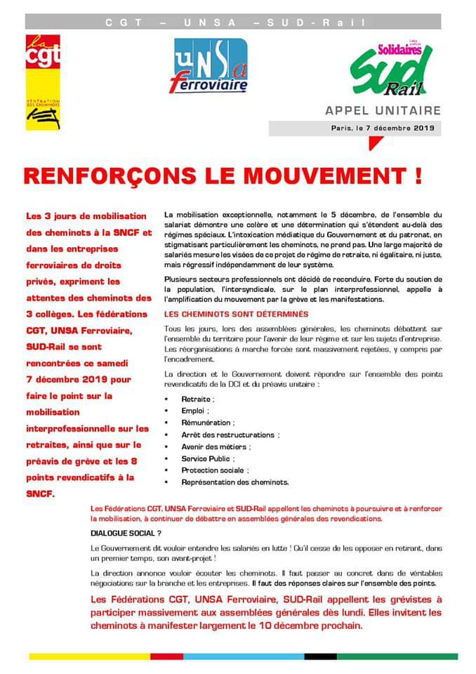 Appel Unitaire : Renforçons le mouvement !