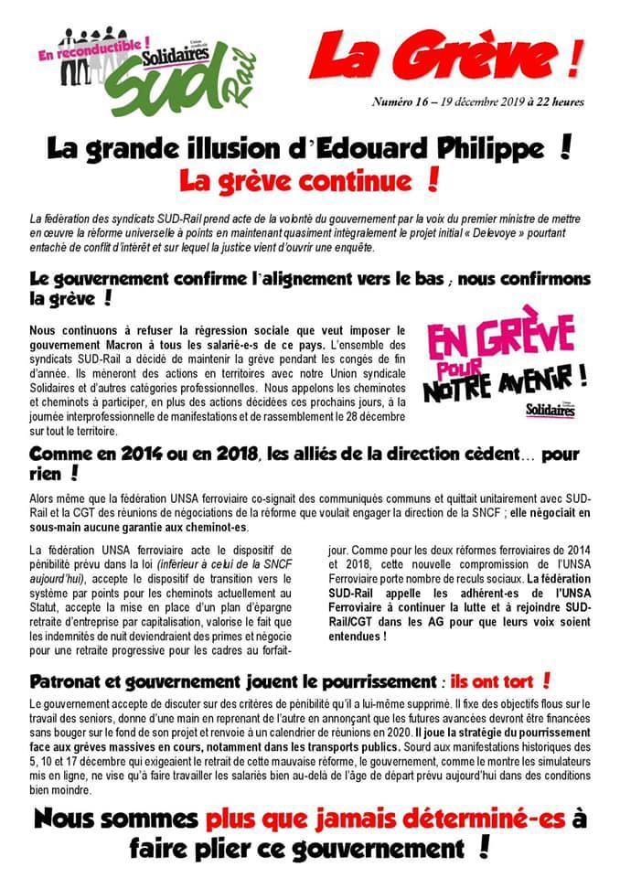 Numéro 16 : La grande illusion d'Edouard Philippe ! La grève continue !