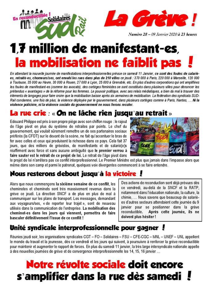 Numéro 28 : 1,7 million de manifestant-es, la mobilisation ne faiblit pas !