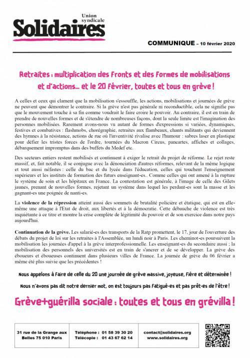 Retraites : Multiplication des fronts et des formes de mobilisations et d'actions… et le 20 février, toutes et tous en grève !