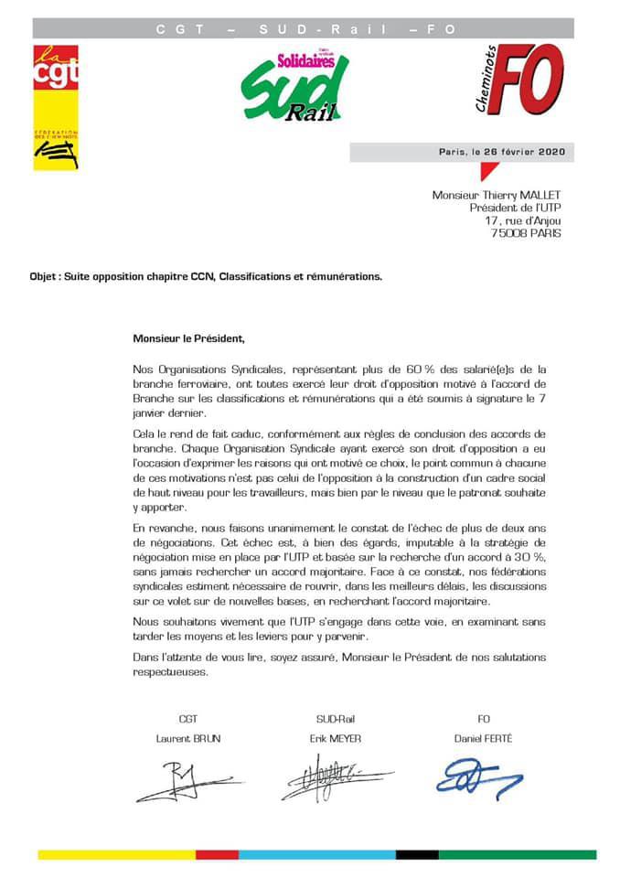 CCN : Courrier Intersyndicale suite opposition chapitre CCN, Classifications et Rémunérations...