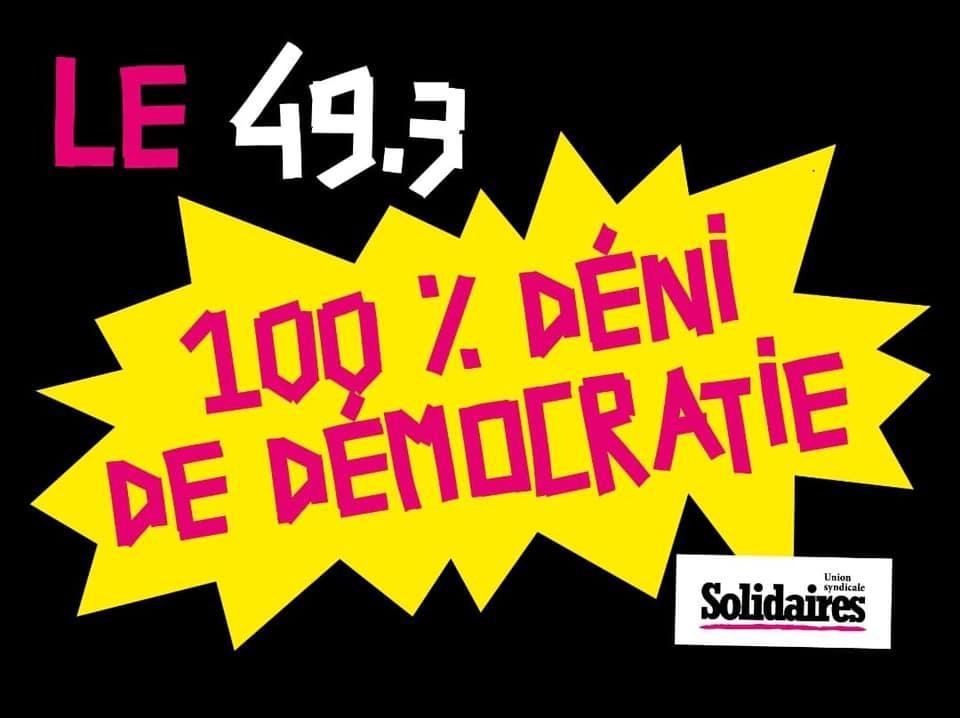 49.3 : Un véritable déni de démocratie !