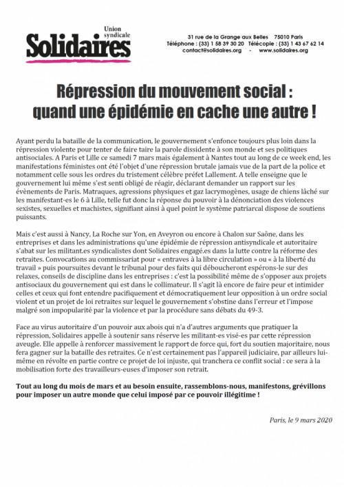 Répression du mouvement social : quand une épidémie en cache une autre !