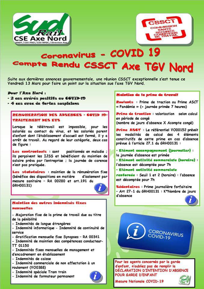 COVID-19 : Compte Rendu CSSCT Axe TGV Nord