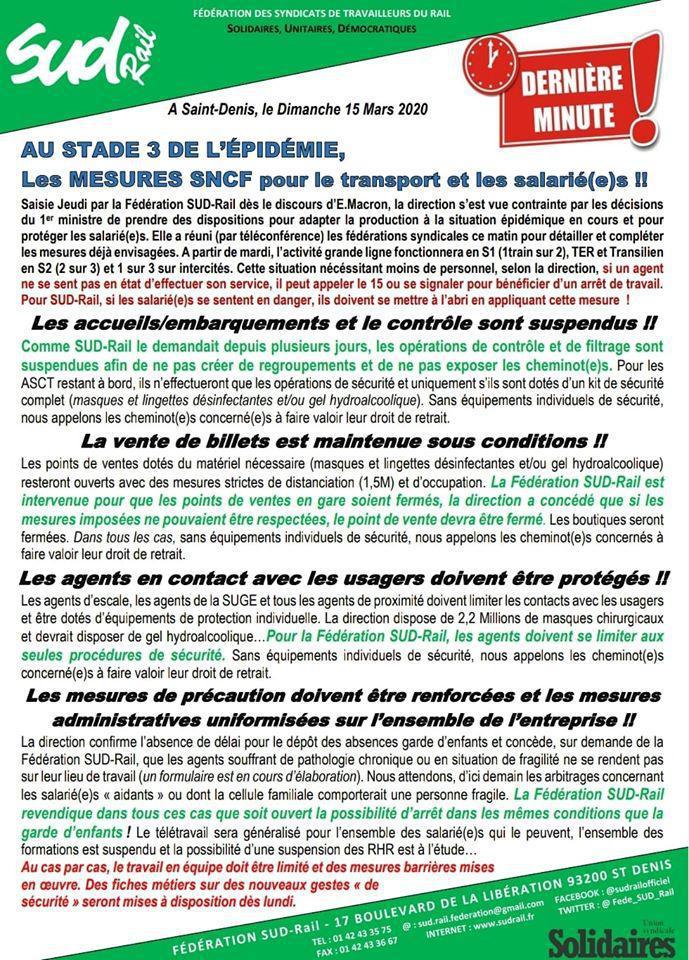 Au stade 3 de l'épidémie, Les Mesures SNCF pour le transport et les salarié(e)s !!