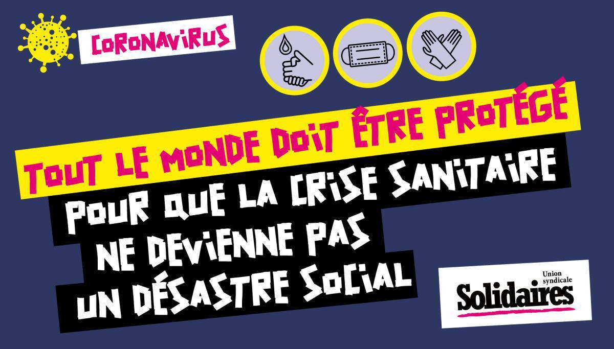 Crise du coronavirus : Position de l'Union syndicale Solidaires