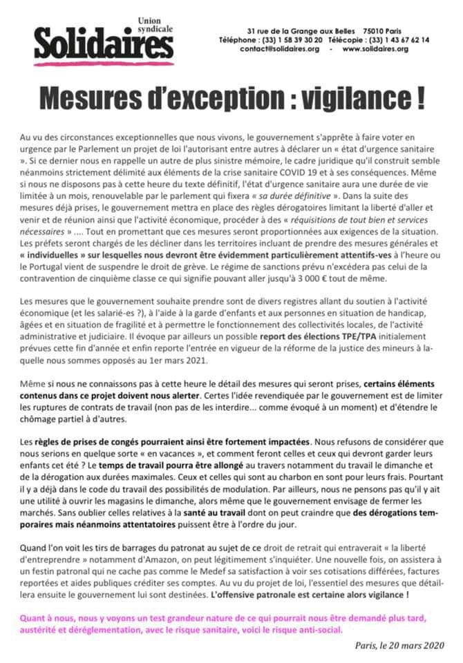 Mesures d'exception : VIGILANCE !