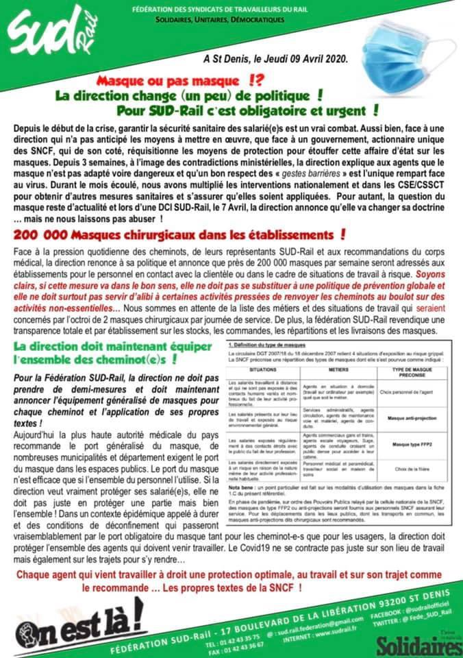 La direction change (un peu) de politique ! Pour SUD Rail, c'est obligatoire et urgent !