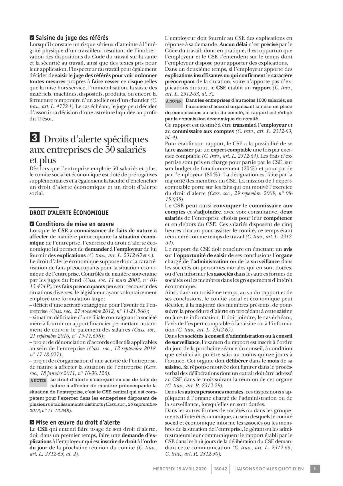 Les droits d' alerte du CSE