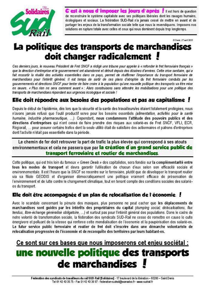 La politique des transports de marchandises doit changer radicalement !