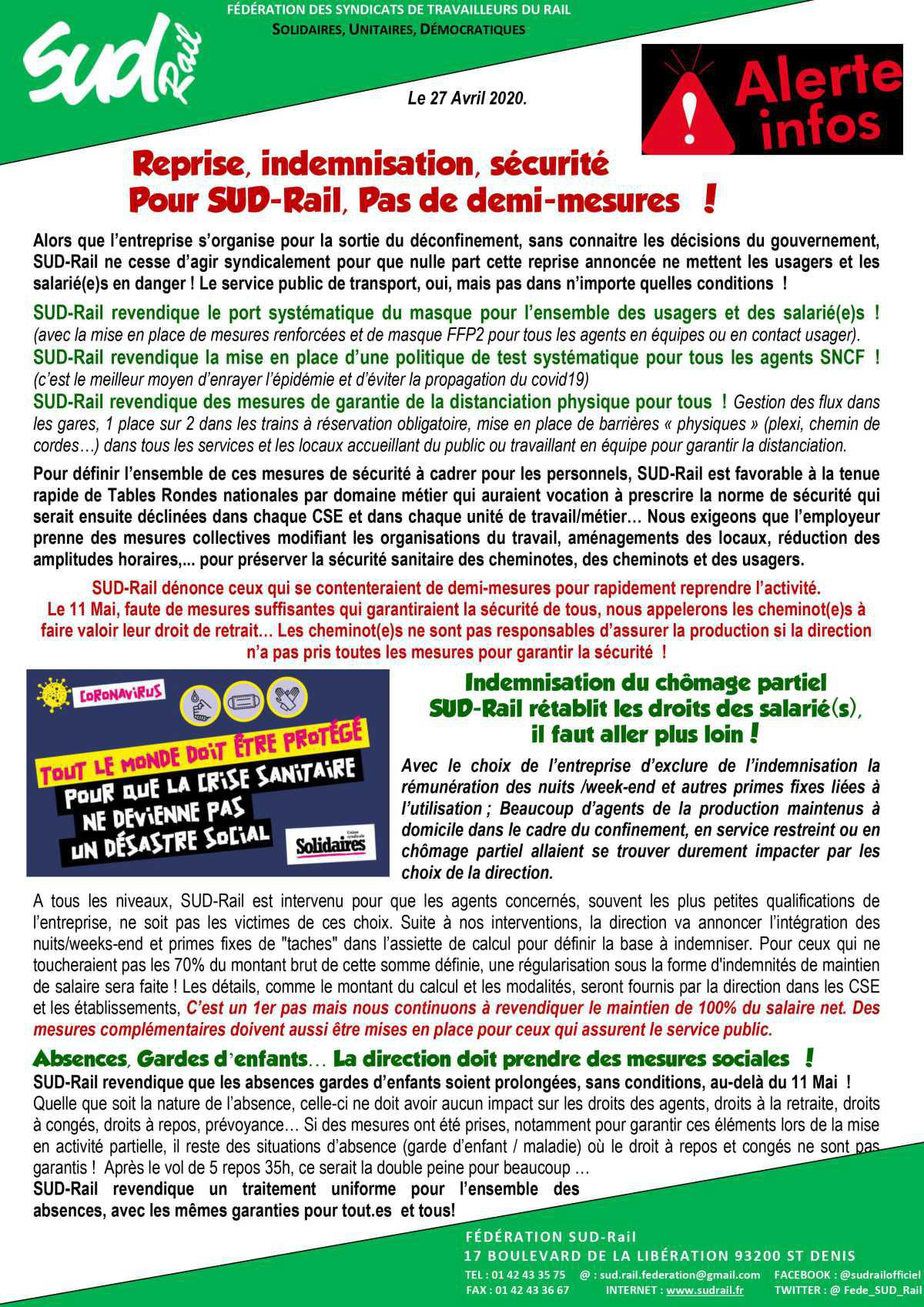 Reprise, indemnisation, sécurité. Pour SUD Rail, Pas de demi-mesures !
