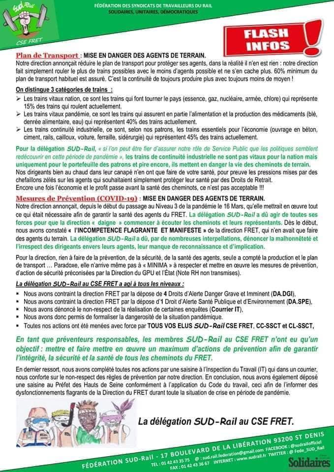 Chômage partiel, Repos Imposés, plan de Continuité de l'Activité : Direction FRET Irrespectueuse et Malhonnête !