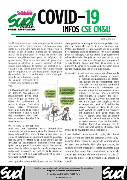 COVID-19 : Infos CSE CN&U