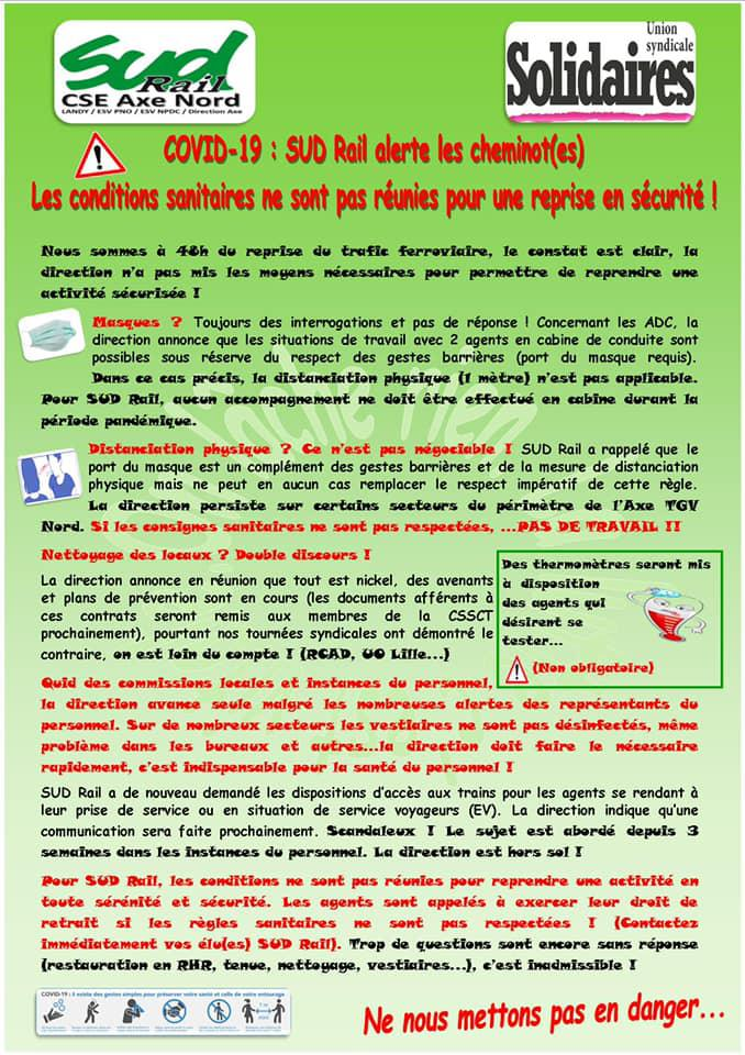 COVID-19 : SUD Rail alerte les cheminot(es)