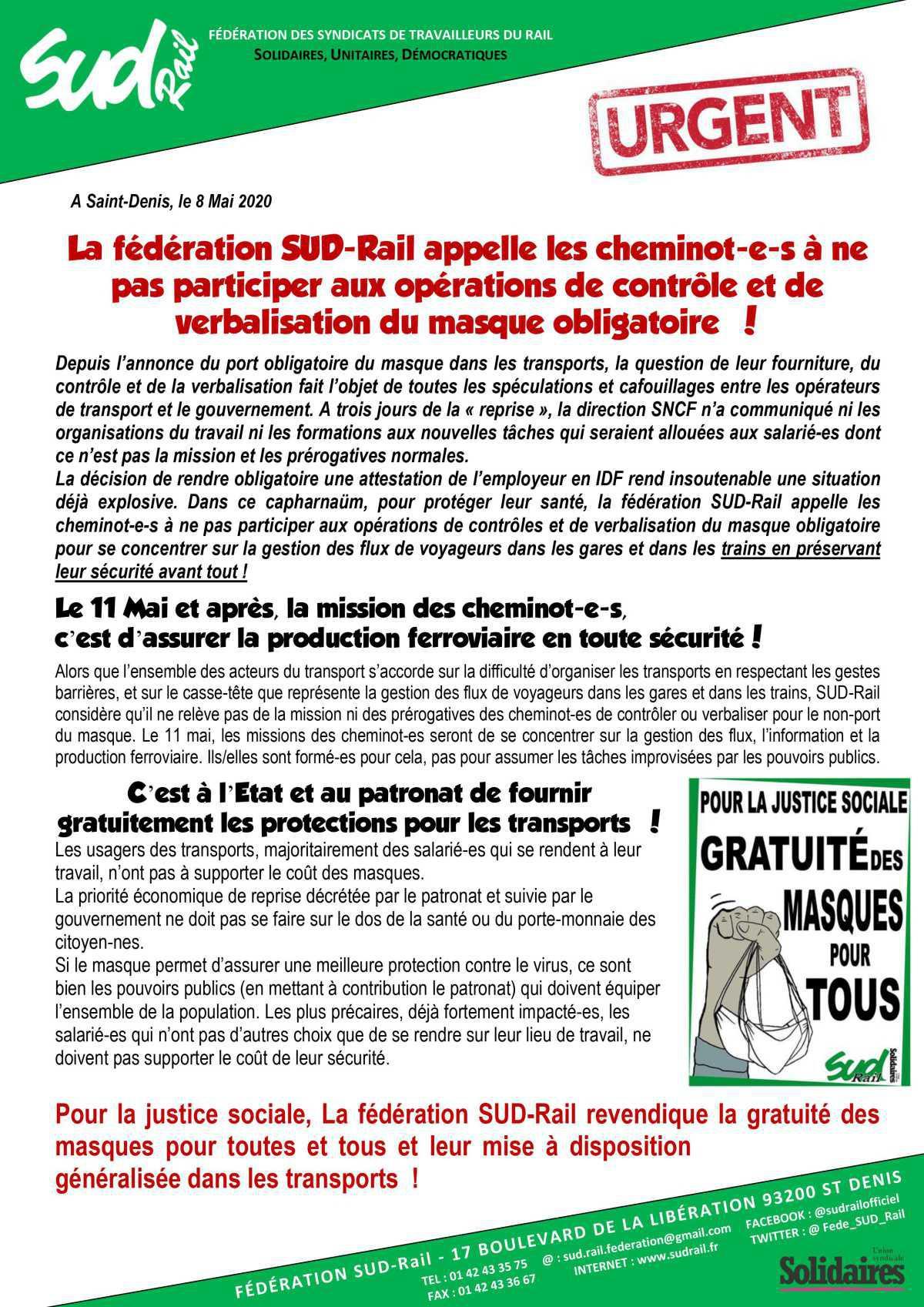 La fédération SUD Rail appelle les cheminot(es) à ne pas participer aux opérations de contrôle et de verbalisation du masque obligatoire !