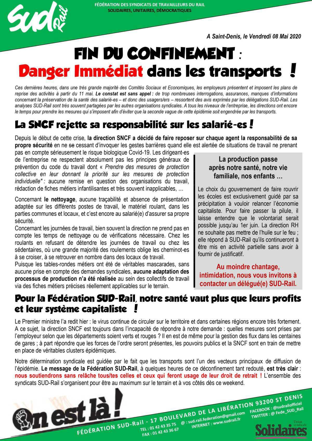 Fin du confinement : danger dans les transports !
