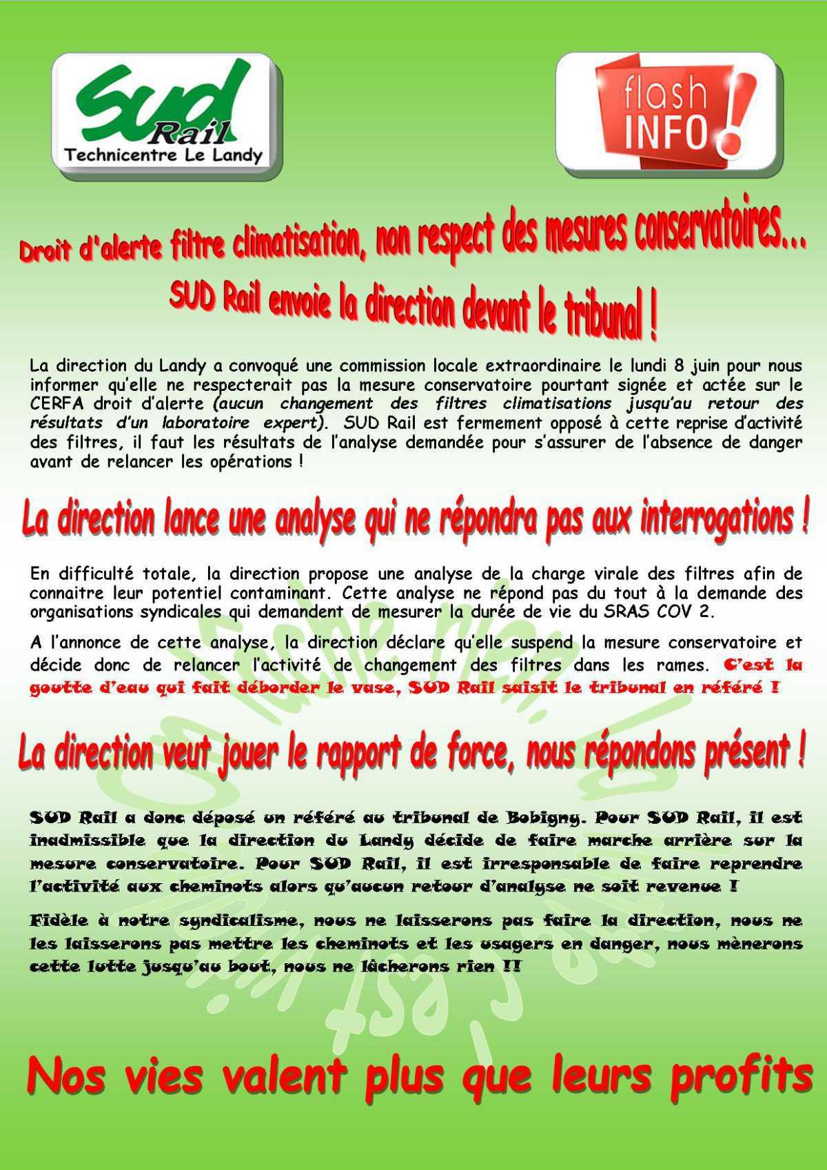 Droit d'alerte filtre climatisation et non respect des mesures conservatoires... SUD Rail saisit le tribunal