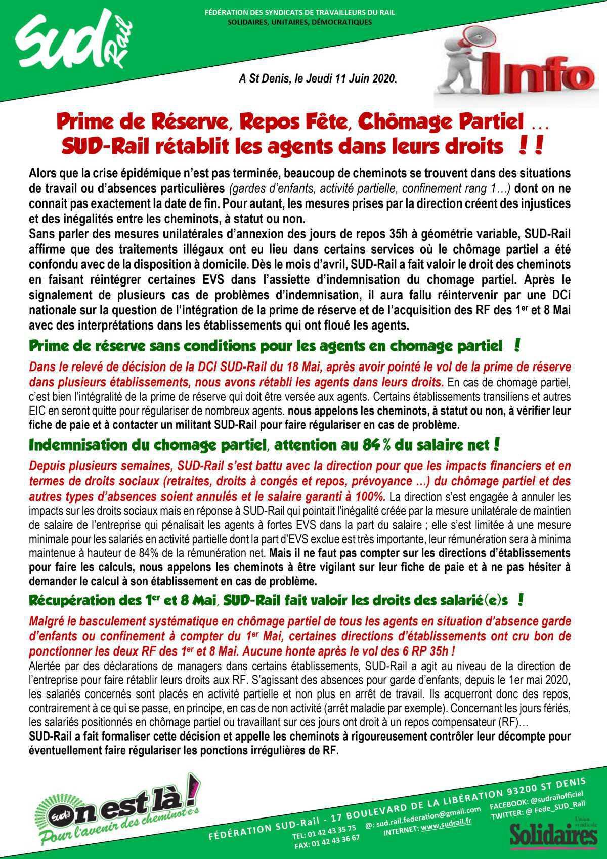 Prime de Réserve, Repos Fête, Chômage partiel...
