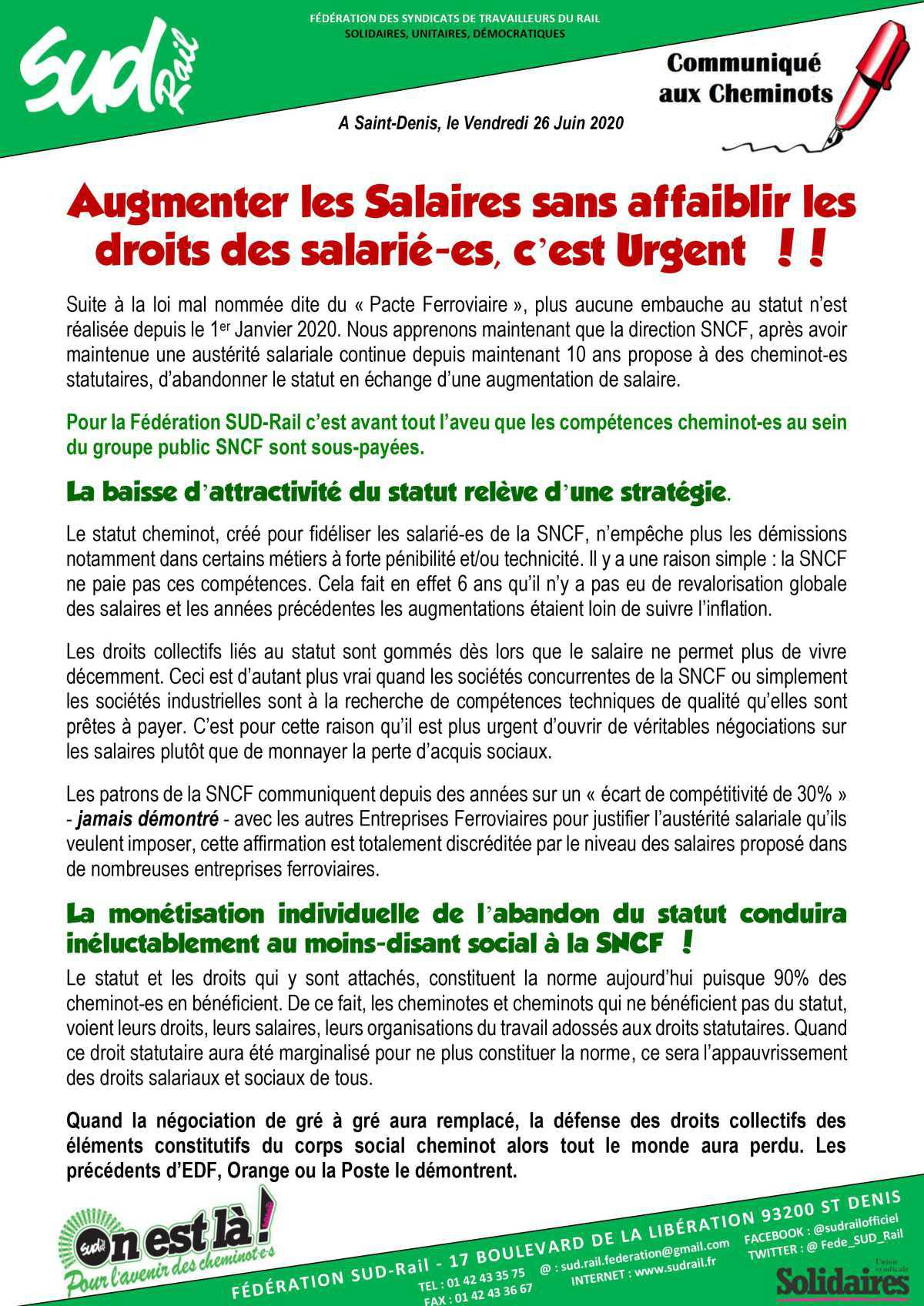 Augmenter les salaires sans affaiblir les droits des salariés, c'est Urgent !!