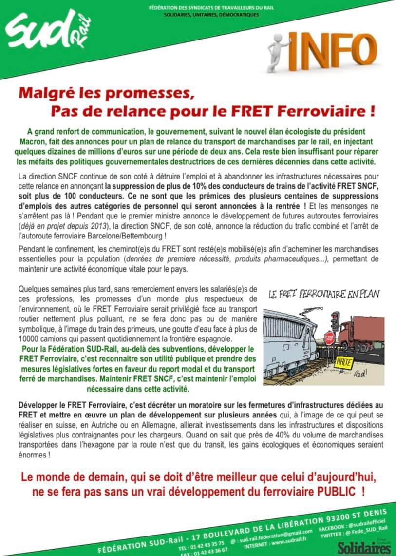 Malgré les promesses, pas de relance pour le FRET Ferroviaire !!