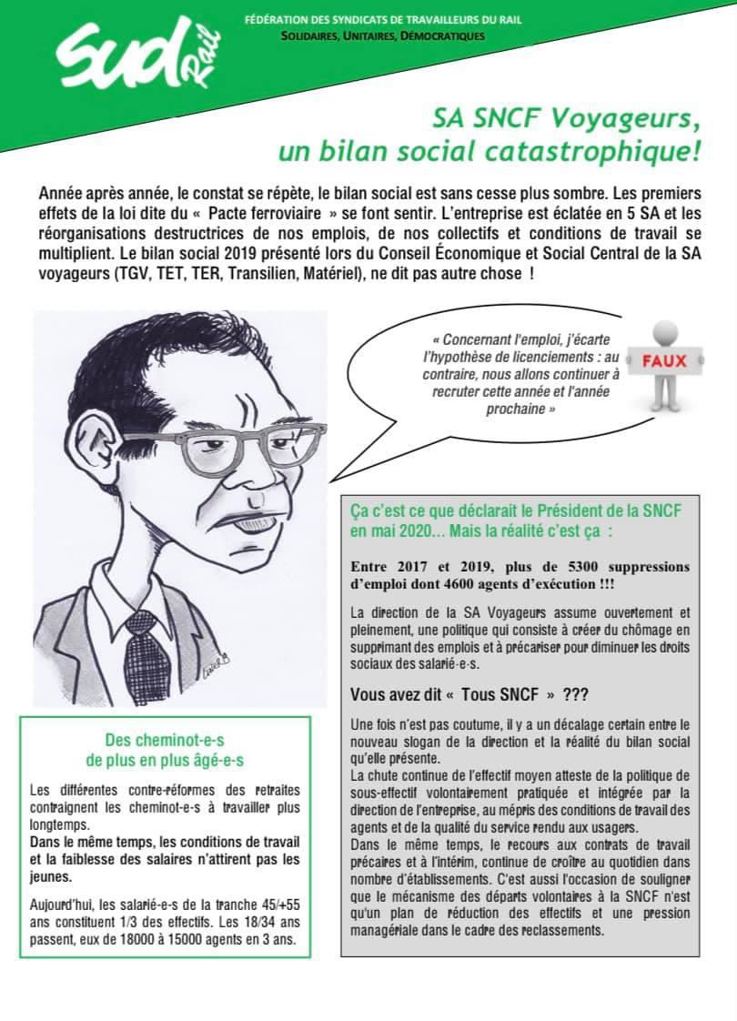 SA SNCF Voyageurs, un bilan social catastrophique !