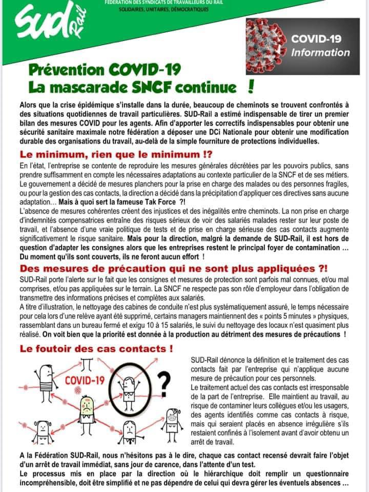 Prévention COVID-19 : La mascarade SNCF continue !